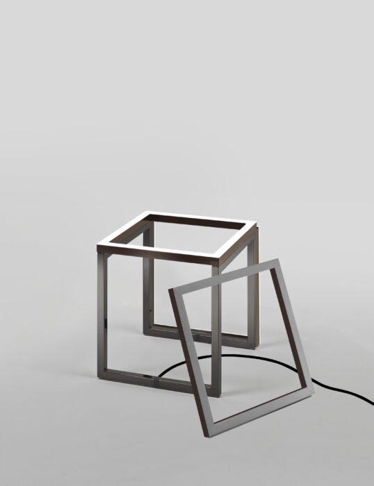 Frame Cubo Nickel nero Pelle cuoio Tre cornici