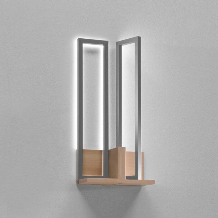 Mondrian Applique Doppia Media Tiglio Argento